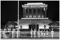Flag folding ceremony, Ho Chi Minh Mausoleum. Hanoi, Vietnam (black and white)