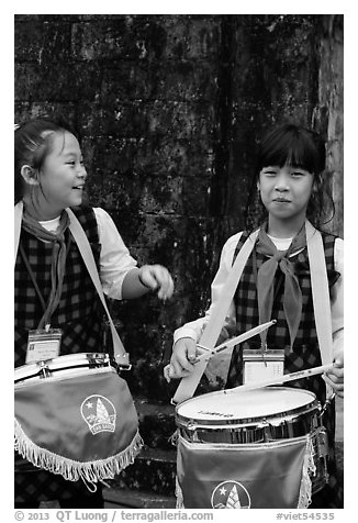 Children band musicians. Hanoi, Vietnam (black and white)