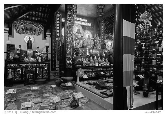 Inside Phung Son Pagoda, district 11. Ho Chi Minh City, Vietnam (black and white)