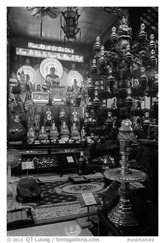 Chandelier and altar, Phung Son Pagoda, district 11. Ho Chi Minh City, Vietnam (black and white)
