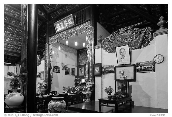Wall with various pictures in Giac Lam Pagoda, Tan Binh district. Ho Chi Minh City, Vietnam (black and white)