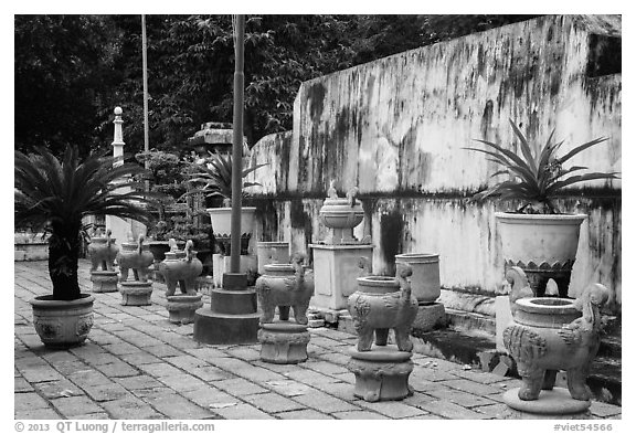 Urns, Le Van Duyet temple, Binh Thanh district. Ho Chi Minh City, Vietnam (black and white)