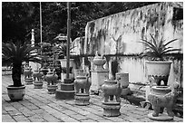 Urns, Le Van Duyet temple, Binh Thanh district. Ho Chi Minh City, Vietnam ( black and white)