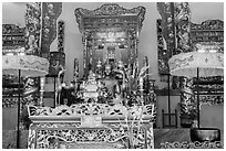 Altar, Le Van Duyet temple, Binh Thanh district. Ho Chi Minh City, Vietnam (black and white)