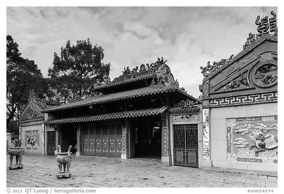 Temple dedicated to Marshal Le Van Duyet , Binh Thanh district. Ho Chi Minh City, Vietnam (black and white)
