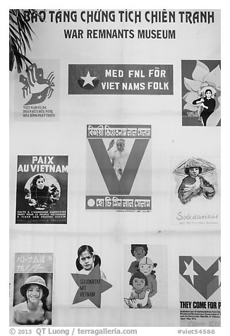 Posters from several countries, War Remnants Museum, district 3. Ho Chi Minh City, Vietnam (black and white)