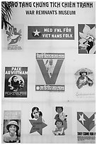 Posters from several countries, War Remnants Museum, district 3. Ho Chi Minh City, Vietnam ( black and white)