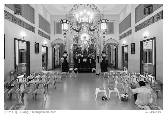 Altar, An Quang Pagoda, district 10. Ho Chi Minh City, Vietnam (black and white)