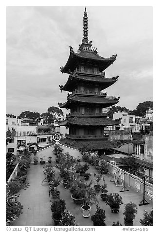 An Quang Pagoda from rooftop garden, district 10. Ho Chi Minh City, Vietnam (black and white)