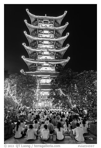 Night Religious service, Quoc Tu Pagoda, district 10. Ho Chi Minh City, Vietnam (black and white)