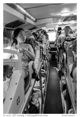 Tourists on sleeper bus. Vietnam (black and white)