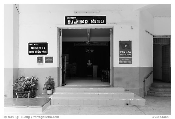 Neighborhood cultural center, district 5. Ho Chi Minh City, Vietnam (black and white)