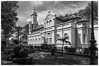 Joan of Arch church and park, district 5. Ho Chi Minh City, Vietnam (black and white)