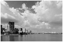 High rises along Saigon River. Ho Chi Minh City, Vietnam ( black and white)