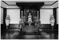 Altar to Ho Chi Minh, Ho Chi Minh Museum. Ho Chi Minh City, Vietnam ( black and white)