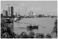 Saigon riverfront. Ho Chi Minh City, Vietnam ( black and white)