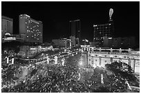 Crowded intersection at night from above, during holidays. Ho Chi Minh City, Vietnam (black and white)