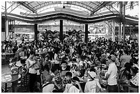 Groups of schoolchildren, Dam Sen Water Park, district 11. Ho Chi Minh City, Vietnam (black and white)