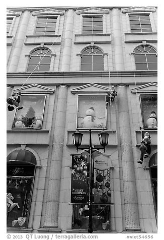 Department store with holiday decorations. Ho Chi Minh City, Vietnam (black and white)