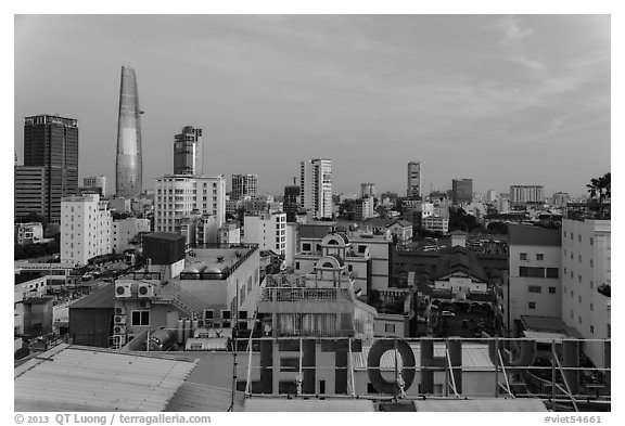 Rooftop view of Saigon skyline. Ho Chi Minh City, Vietnam (black and white)