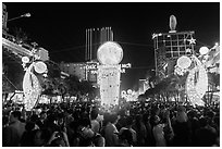 Crowds on Nguyen Hue boulevard on New Year eve. Ho Chi Minh City, Vietnam (black and white)