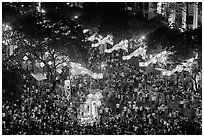 Le Loi boulevard with decorations and crowds from above. Ho Chi Minh City, Vietnam ( black and white)