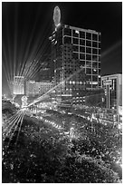 Laser show, central Saigon, New Year eve. Ho Chi Minh City, Vietnam (black and white)