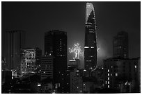 New Year fireworks. Ho Chi Minh City, Vietnam ( black and white)