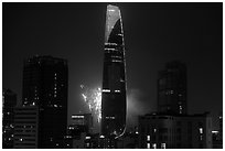 Bitexco tower with fireworks. Ho Chi Minh City, Vietnam ( black and white)