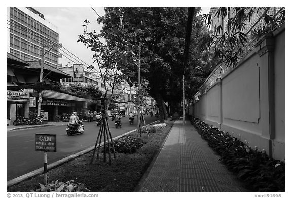 Walls of consulate of France. Ho Chi Minh City, Vietnam (black and white)