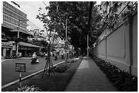 Walls of consulate of France. Ho Chi Minh City, Vietnam ( black and white)