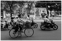 Bicycle and motorbikes. Ho Chi Minh City, Vietnam (black and white)