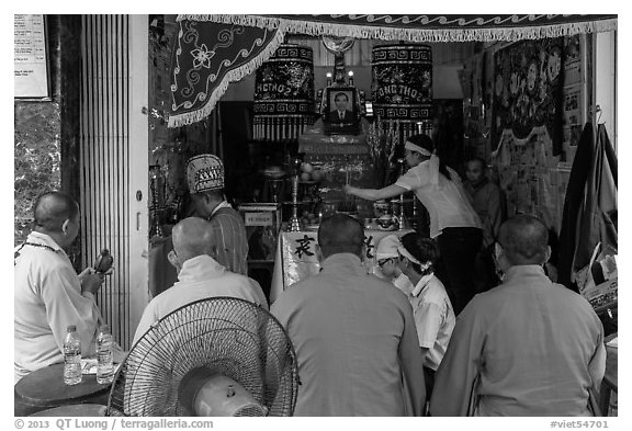 Buddhist funeral. Ho Chi Minh City, Vietnam (black and white)