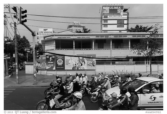 Traffic waiting at intersection. Ho Chi Minh City, Vietnam (black and white)