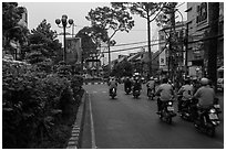 Street at dusk. Ho Chi Minh City, Vietnam (black and white)