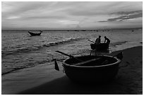 Fishermen bringing round coracle boat to shore at sunset. Mui Ne, Vietnam ( black and white)