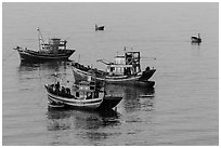 Fishing boats, early morning. Mui Ne, Vietnam ( black and white)