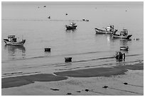 Coracle boats, fishing boats from above. Mui Ne, Vietnam ( black and white)