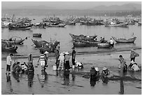 Fishermen and fish buyers on beach, early morning. Mui Ne, Vietnam ( black and white)