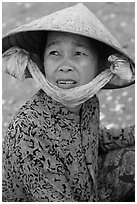 Fisherwoman. Mui Ne, Vietnam ( black and white)