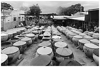 Fish sauce factory. Mui Ne, Vietnam ( black and white)