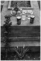 Grave with offerings of incense, flowers, drinks, fruit, and fake money. Ben Tre, Vietnam ( black and white)