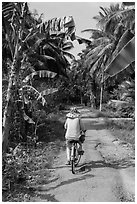 Bicyclist on rural road surrounded by banana and coconut trees. Ben Tre, Vietnam (black and white)