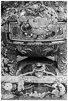 Funerary urn resting on a tortoise sculpture, Phoenix Island. My Tho, Vietnam (black and white)