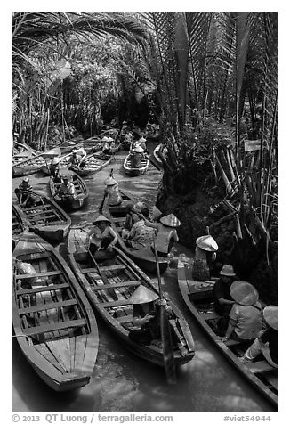Traffic jam of boats, Phoenix Island. My Tho, Vietnam (black and white)