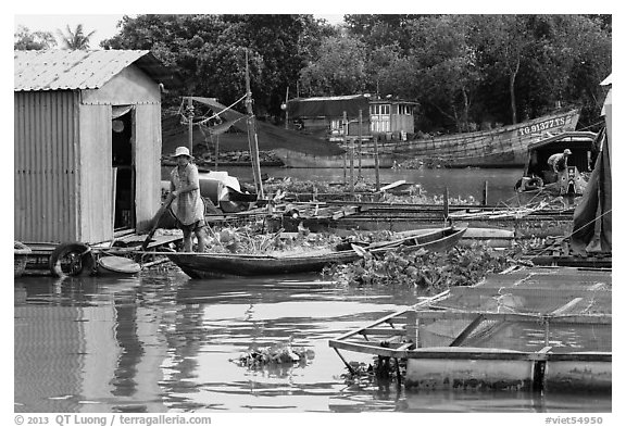 Man paddling out of houseboat. My Tho, Vietnam (black and white)
