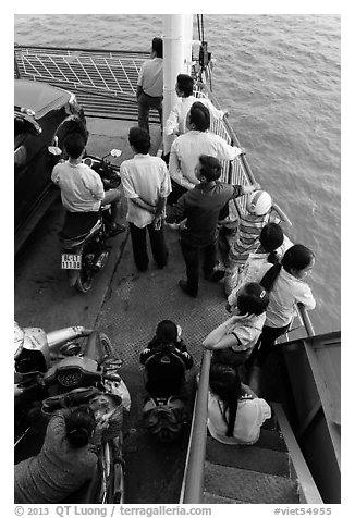 People on ferry seen from above. Mekong Delta, Vietnam (black and white)