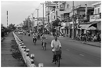 Bicycles on riverfront street. Tra Vinh, Vietnam ( black and white)