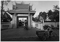 Khmer-style Ong Met Pagoda seen from street. Tra Vinh, Vietnam ( black and white)