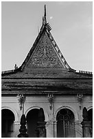Roof detail and moon, Ong Met Pagoda. Tra Vinh, Vietnam ( black and white)